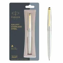 Parker Galaxy Stainless Steel Refillable Ball Pen With Gold Trim