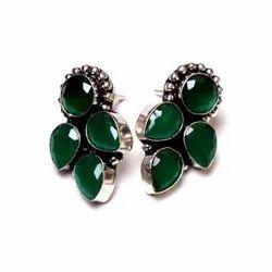 Emerald Gemstone Flower Women's Earrings