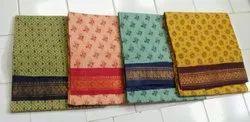 Pure Cotton Block Prints madurai sungudi one side jari border saree, Without Blouse, 5.5 m