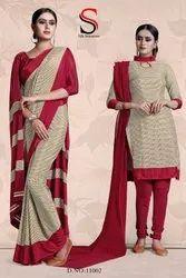 School Uniform Saree In Salwar Suit Combo