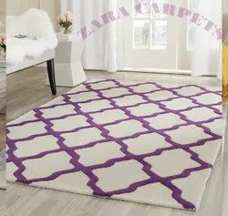 White Purple 4x6ft Moroccan Hand Tufted Carpet