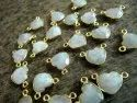 Natural Gemstone Heart shape Double Loop Bezel Connector Gold Plated 10 mm