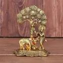 Gold Plated Krishna With Cow Statue For Home Decoration & Corporate Gifts.