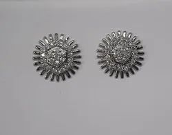 Brass ( Base) Round Imitation Silver Plated Stud Earring