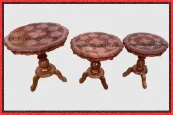 Brown Round Wooden Hand Carved Coffee Tables, For Hotel