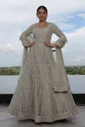 Hand Embroidery Net Nirmal Creations Pastel Grey Floral Jaal Handwork Gown