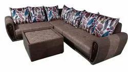 Wooden Modern L Shaped Corner Sofa Set, Living Room