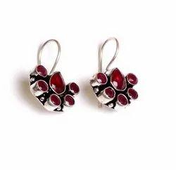 Pink Quartz Gemstone Silver Plated Women Dangle Earrings