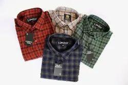Printed Mens Collar Neck Cotton Checks Shirt