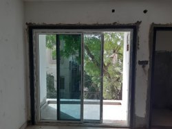 Silver Powder Coated UPVC Sliding Door, For Home
