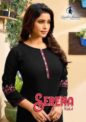 Ladies Flavour Serena Vol 4 Rayon With Embroidery Kurti Catalog