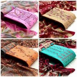 Khadi Cotton 4 Color Ladies Party Wear Dress Material