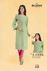 Rayon Green Ladies Ethnic Wear