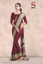 Silk Crepe Uniform Saree