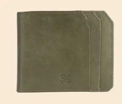 Bi Fold Olive Green Mens Leather Wallet, Card Slots: 6