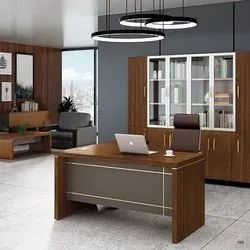 Wooden L Shape Office Executive Table, Size: 1800x900x750