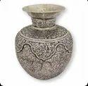Metal Silver Plated Craving Work Flower Vase / Kalash For Home Decoration