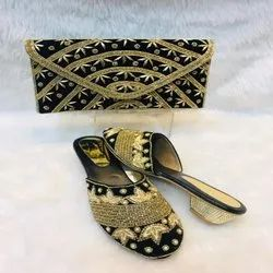 Strip Pattern Black And Gold European Shoes And Bag For Women And Girl