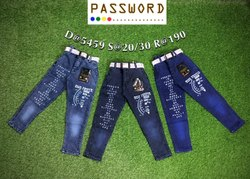 Kids Party Wear Printed Denim Jeans