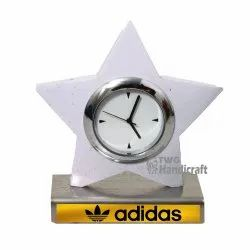 TWG Handicraft Analog Star Shaped and Squre Shaped Table Clock, Size: 1.5