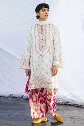 White Coco Lawn By Zara Shahjahan, Size: Free