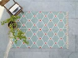 Cotton Rectangle Boho Rug,Rugs And Carpets,Handmade Floor Area Rug, Size: 5 X 8 Feet