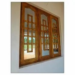 Brown Modern 5 X 5feet Wooden Window, Rectangular