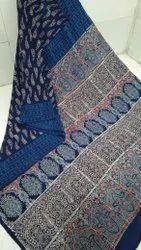 Ajrakh Hand Block Printed Mulmul Cotton Saree