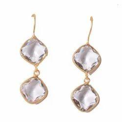 Milti Gemstone Gold Plated Bezel Woman Earrings