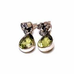 Prehnite Gemstone Designer Earrings