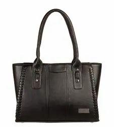 Louise Belgium Ladies Plain Black Leather Handbag