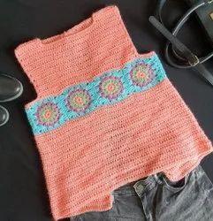 Woolen Ladies Peach Sleeveless Crochet Sweater