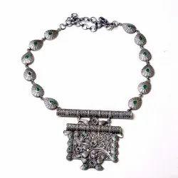 Silver Look oxidized Necklace Women Jewelry