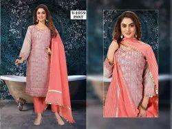 Chanderi Salwar Embroidery Pink Kurti Pant Suit, Handwash, Size: Medium