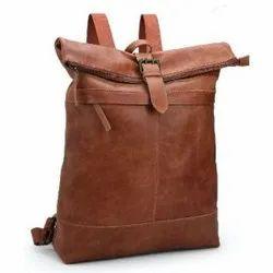 Jhanji Exports Brown Stylish Zipped Up Leather Bag, Size: Standard