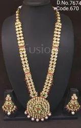 Fusion Arts Long Kundan Necklace Set