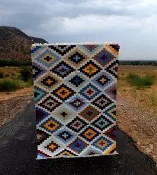 Cotton Multicolor Multicolour Flat Weave Rug,kilim Handwoven Dhurrie,area Boho Rug, Size: 5 X 7 Feet
