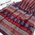 New Latest Beautiful Designer Bagru Hand Block Printed Pure Chanderi Silk Saree