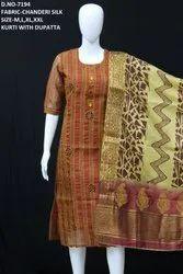 Party Wear Straight New Chanderi Silk Dupatta Style Kurti, Wash Care: Dry Clean