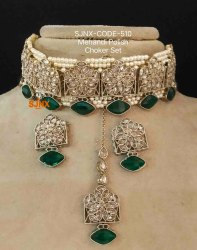 Copper Traditional Mehendi Polish Necklace Set For Women Jewellery, Box