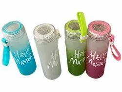 Screw Cap Blue Hello Master Printed Glass Water Bottle, Capacity: 420ml
