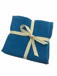 Blue 100% Organic Cotton Knitted Cleaning Towel, Wash Type: Hand And Machine Wash, 0.035 G