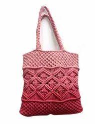 Shoulder Peach Macrame Ladies Hand Bag