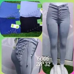 Button Gray Ladies Lace Up Skinny Jeans