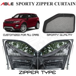 Able Black Sporty Zipper Curtain, For Cars