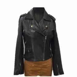 Full Sleeve Plain MBE/CYR/01 Sheep Black Leather Jackets