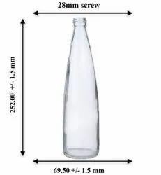 Airtight Transparent Glass Water Bottle, Screw Cap, Capacity: 280ml