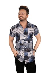 Printed Blue Casual Shirt For Men