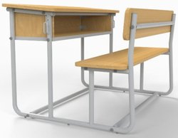 Angle iron student desk cum bench 1500mm