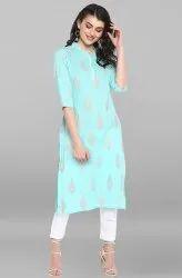 Janasya Women's Teal Cotton Kurta(JNE3533)